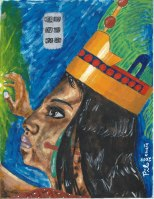 Lady Wac Chanil Ajaw, brave Maya ruler. Painting by Miguel Omaña. Copyright 2009.
