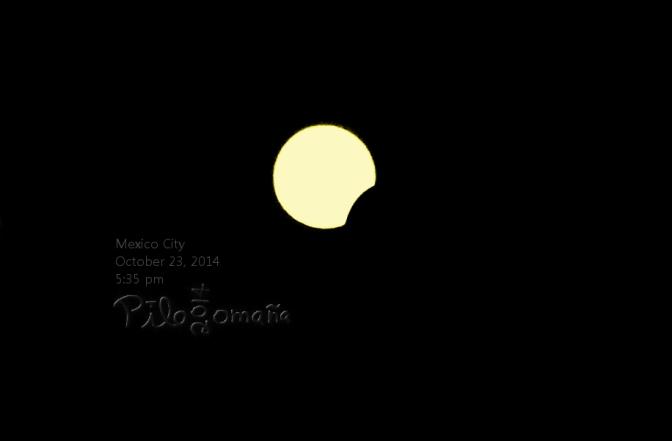 October 23 solar eclipse I shot as seen at Mexico City. Copyright 2014 Miguel Omaña.