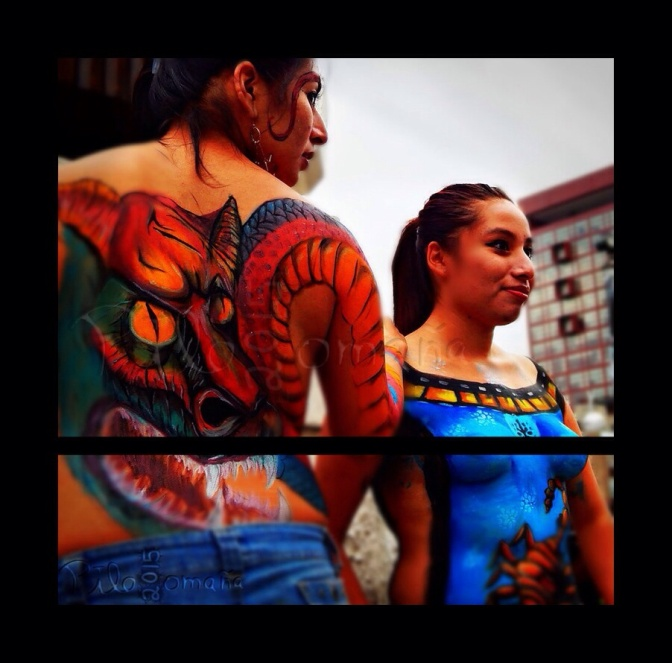 Girls showcasing their bodypaint