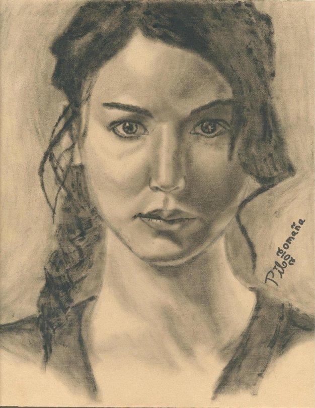 Katniss Everdeen painted portrait. Oil on wood. Copyright 2012 Miguel Omaña.