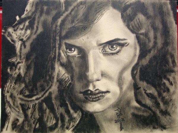 Scarlett Johansson painted portrait.