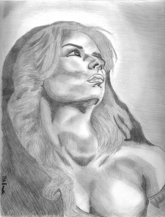 Mary Magdalene drawing portrait. Copyright 2009 Miguel Omaña.