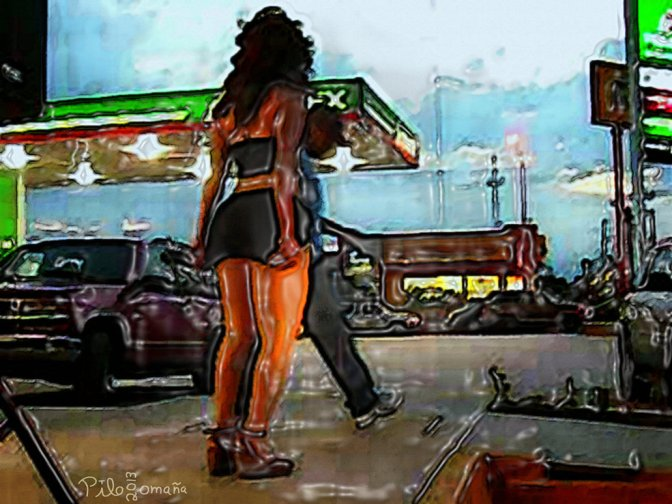 Mexican girl dancing at gas station.