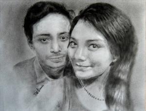 Couple painted portrait. Copyright 2015 Miguel Omaña.